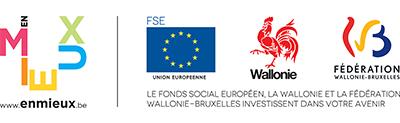 Avec le soutien de EnMieux.be, le FSE, la Wallonie et la Fédération Wallonie-Bruxelles